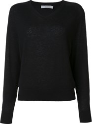 Vince V Neck Jumper Black
