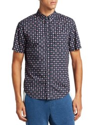Madison Supply Printed Cotton Button Down Shirt Blue Night