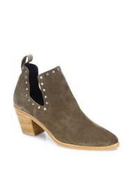 Rebecca Minkoff Lana Studded Cutout Suede Booties Olive