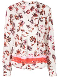 Derek Lam 10 Crosby Long Sleeve French Floral Peplum Blouse With Neck White