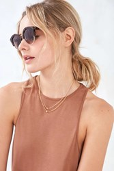 Urban Outfitters Oval Half Frame Sunglasses Brown