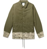 Visvim Painted Padded Cotton Blend Jacket Army Green
