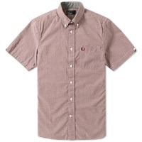 Fred Perry Short Sleeve Gingham Shirt Burgundy