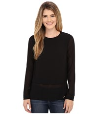 Michael Michael Kors Long Sleeve Double Layer Short Sleeve Top Black Women's Blouse