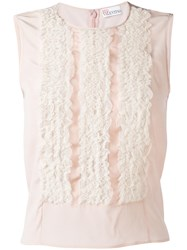 Red Valentino Lace Frills Tank Top Pink Purple