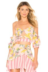 For Love And Lemons Antigua Crop Top Pink
