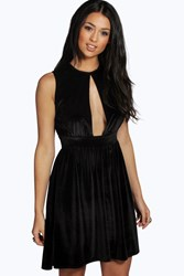 Boohoo Velvet Cut Out Detail Skater Dress Black