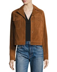 Vince Suede Moto Jacket Tan Brown