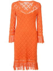 Trina Turk Crocheted Dress Women Cotton S Yellow Orange