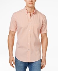 Club Room Big And Tall Men's Kendall Gingham Short Sleeve Shirt Only At Macy's Orange Cream