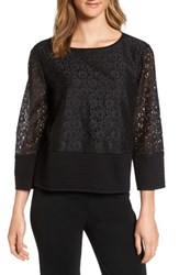 Ming Wang Women's Lace And Knit Top Black