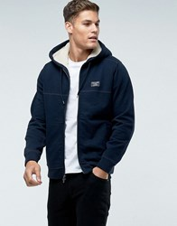 Abercrombie And Fitch Zipfront Hoodie Borg Lined In Navy