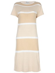 Courreges Vintage Striped Dress Nude And Neutrals