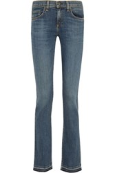 Rag And Bone Lottie Low Rise Frayed Bootcut Jeans Mid Denim