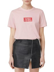 Burberry The Crown Printed Cotton Jersey T Shirt Light Pink