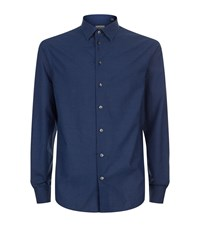 Armani Collezioni Diamond Print Cotton Shirt Male Blue