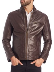 Cole Haan Leather Moto Jacket Chocolate