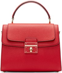 Dolce And Gabbana Red Leather Greta Duffle Bag