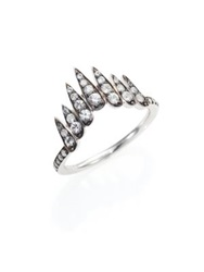 Alexis Bittar Fine Fine Ice Marquis White Sapphire And Sterling Silver Fringe Ring