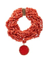 Rosantica By Michela Panero Fato Multi Strand Stone Necklace Red