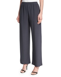 Eskandar Wide Leg Silk Trousers Brown
