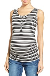 Nom Maternity Women's Henley Tank Top Varigated Black Stripe