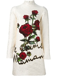 Dolce And Gabbana Rose Applique Brocade Dress White