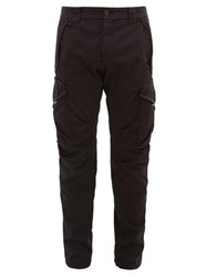 C.P. Company Patch Pocket Cotton Blend Twill Cargo Trousers Black