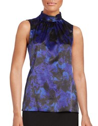 T Tahari Patterned Mockneck Shell Blue