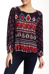 Angie Sequin And Slit Aztec Blouse Multi