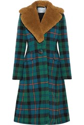 Prada Shearling Trimmed Tartan Wool And Alpaca Blend Coat Green