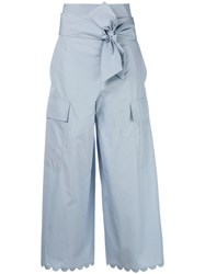 See By Chloe Cropped Palazzo Pants Blue