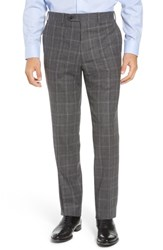 John W. Nordstrom Torino Traditional Fit Flat Front Plaid Wool And Cashmere Trousers Grey