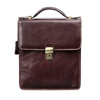 Maxwell Scott Bags Luxury Italian Leather Men's Medium Shoulder Bag Santino Chocolate Brown