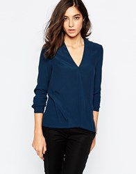 Warehouse Long Sleeve Wrap Front Top Teal