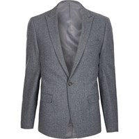 River Island Light Blue Cropped Skinny Fit Suit Jacket