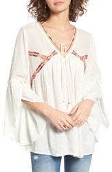 Sun And Shadow Women's Boho Bell Sleeve Top