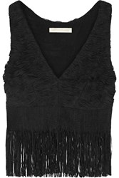 Jonathan Simkhai Fringed Appliqued Tulle Top
