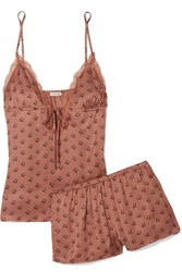 Love Stories Lotty And Blush Lace Trimmed Printed Jersey Pajama Set Brick