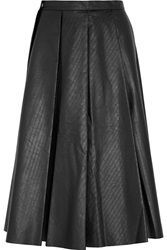 J.W.Anderson Pleated Ribbed Faux Leather Skirt Black