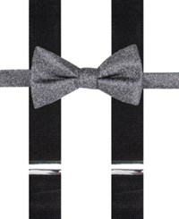 Alfani Men's Mars Speckled Pre Tied Bow Tie And Suspender Set Only At Macy's Black