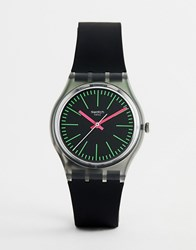 Swatch Gm189 Fluoloopy Silicone Watch In Black