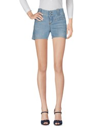 Jaggy Denim Shorts Blue