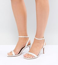 Asos Design Half Time Wide Fit Bridal Barely There Heeled Sandals Cream