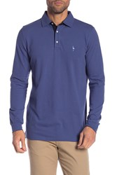 Tailorbyrd Long Sleeve Two Tone Polo Big And Tall Denim Blue