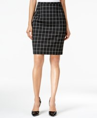 Tommy Hilfiger Windowpane Pencil Skirt Black Ivory