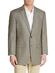 Lauren Ralph Lauren Regular Fit Windowpane Check Silk And Wool Sportcoat Cream