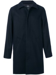 A.P.C. Concealed Button Up Coat Polyamide Polyester Viscose Wool M Blue