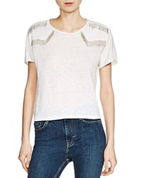 Maje Tucker Beaded Fringe Tee Ecru