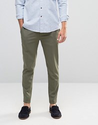 Asos Super Skinny Cropped Smart Trousers In Khaki Burnt Olive Green